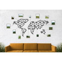 Geometryczna metalowa mapa świata