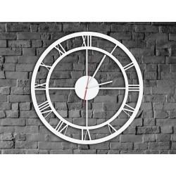 Biały Metalowy Zegar Ścienny Rzymski